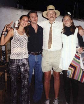 Jack McGovern (in hat), at his 2001 retirement (from LIFE School) party, makes a humorous attempt at dapperness.