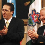 Felipe Allejos Lorenzama (left), General Consul of Guatemala in Miami, and Coral Gables Mayor Don Slesnick wecome the Sister Cities delegation from La Antigua Guatemala