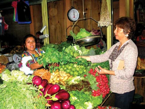 Irma and Alma at Irma's stall in the mercado