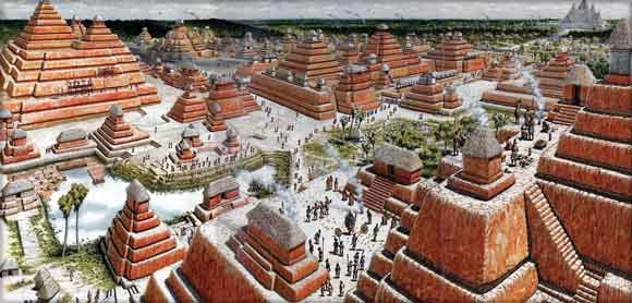Artists's composite rendition of El Mirador, 300 B.C.-150 A.D. (National Geographic)