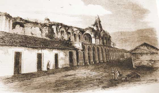 The palace was demolished by Captain General Martn de Mayorga after 1773. In fact, Mayorga got a royal decree to demolish the entire city after the earthquakes of 1773 but no one paid much attention to it. He did, however, demolish a great part of the palace, trying to move the large stone columns. The palace was rebuilt in the 1890s.