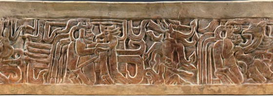 Mayan carving with deer figures (courtesy of Museo de Arte Precolombino y Vidrio Moderno, Casa Santo Domingo)